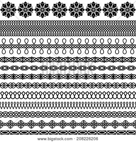 Vector set wide narrow thick and thin brushes in a traditional Oriental style to create frames borders and boarders. Linear and stylized floral elements the interweaving of the lines East elegant ornament for decoration and design textiles invitations car