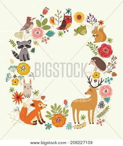 Background with animals. Frame for text. Vector illustration