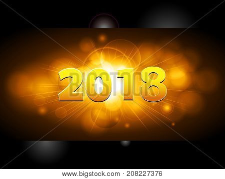 Golden 2018 New Years Over Glowing Panel on Black Background