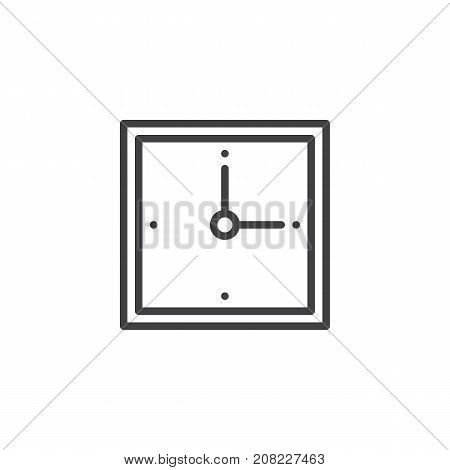 Wall square clock line icon, outline vector sign, linear style pictogram isolated on white. Symbol, logo illustration. Editable stroke