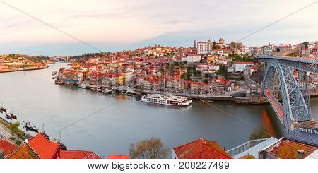 Picturesque panoramic aerial view of Old town of Porto, Ribeira and bridge in the Douro River in the morning, Portugal