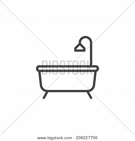 Shower bathtub with shower line icon, outline vector sign, linear style pictogram isolated on white. Bath symbol, logo illustration. Editable stroke