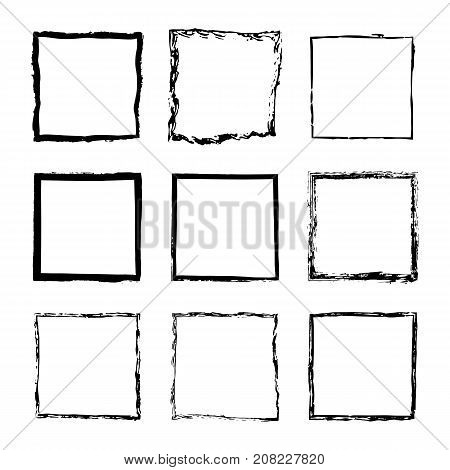 Vector set of square sloppy black ink frames drawn by hand. Thin and wide frame of lines splashes and spots of paint design text post cards banners flyers invitations