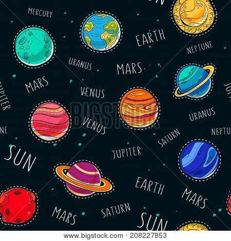 Space exploration background. Sun and set of 9 planets like mars, saturn with rings and uranus, jupiter, mercury, earth.