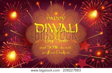 Diwali sale prosperous banner with burning diya - oil lamp traditional Indian symbol and happy Diwali Holiday Sale text promotion advertisement fireworks mandala decorative background of Deepavali light festival India.