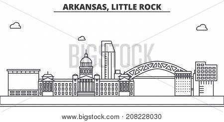 Arkansas, Little Rock architecture line skyline illustration. Linear vector cityscape with famous landmarks, city sights, design icons. Editable strokes
