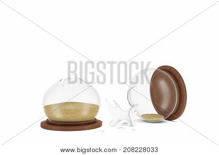 3d rendering of a vintage hourglass broken in half on a white background with sand still inside. Loss of time. Choose best time. Precious moments.