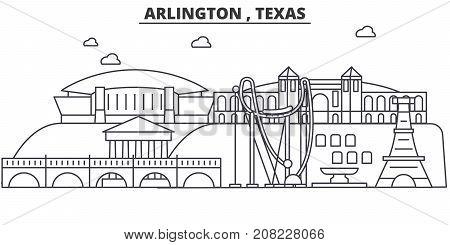 Arlington , Texas architecture line skyline illustration. Linear vector cityscape with famous landmarks, city sights, design icons. Editable strokes
