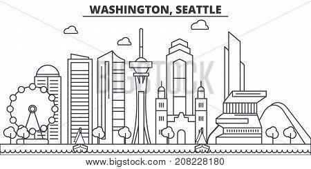Washington, Seattle architecture line skyline illustration. Linear vector cityscape with famous landmarks, city sights, design icons. Editable strokes