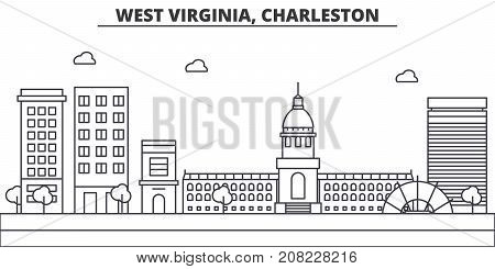 West Virginia, Charleston architecture line skyline illustration. Linear vector cityscape with famous landmarks, city sights, design icons. Editable strokes