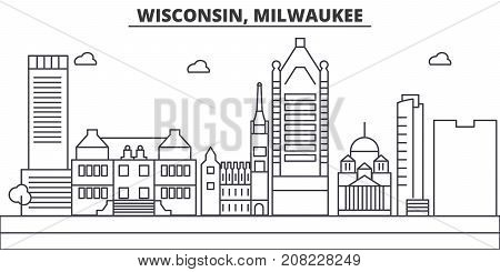 Wisconsin, Milwaukee City architecture line skyline illustration. Linear vector cityscape with famous landmarks, city sights, design icons. Editable strokes