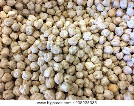 Close up of Garbanzo beans dry food background