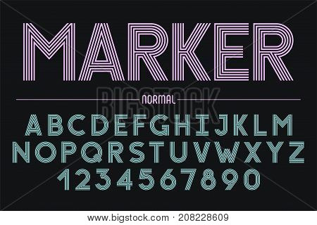 Retro futuristic bold decorative font design alphabet typeface typography. 5 lines Vector illustration