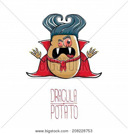 vector funny cartoon cute dracula potato with fangs and red cape isolated on white background. My name is dracula potato vector concept halloween background. vampire monster vegetable funky character