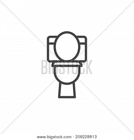 Toilet bowl line icon, outline vector sign, linear style pictogram isolated on white. WC symbol, logo illustration. Editable stroke
