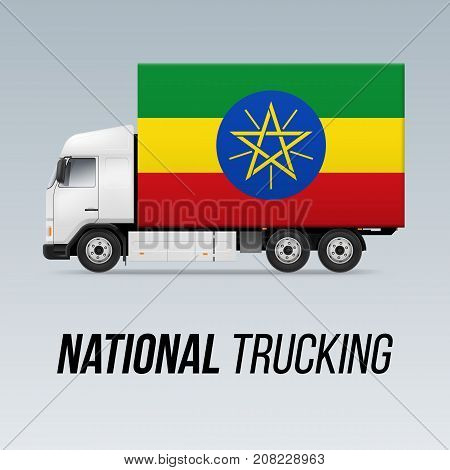 Symbol of National Delivery Truck with Flag of Ethiopia. National Trucking Icon and Ethiopian flag