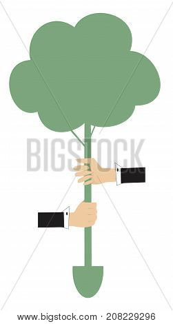 Hands, tree, spade concept illustration. Two hands hold a tree with spade instead roots
