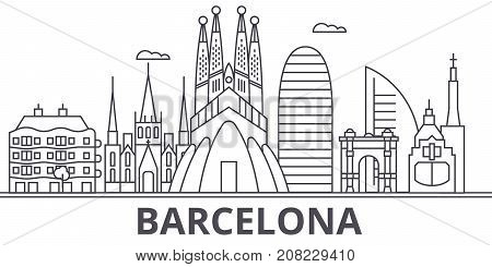 Barcelona architecture line skyline illustration. Linear vector cityscape with famous landmarks, city sights, design icons. Editable strokes