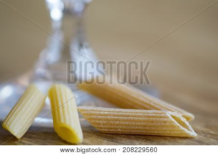 variety of kink of pasta: standard kind and wholemeal pasta