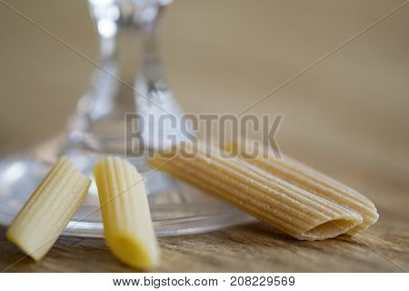 assortment of normal and wholemeal raw pasta