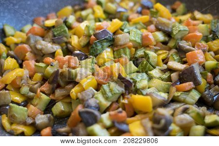 flat lay of vegetable and colored chopped ratatouille