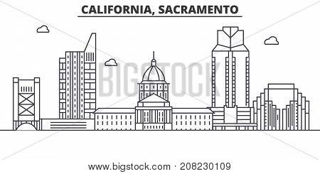 California  Sacramento architecture line skyline illustration. Linear vector cityscape with famous landmarks, city sights, design icons. Editable strokes