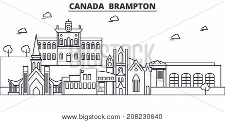 Canada, Brampton architecture line skyline illustration. Linear vector cityscape with famous landmarks, city sights, design icons. Editable strokes