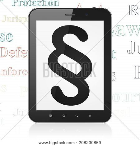 Law concept: Tablet Computer with  black Paragraph icon on display,  Tag Cloud background, 3D rendering