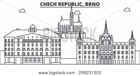 Chech Republic, Brno architecture line skyline illustration. Linear vector cityscape with famous landmarks, city sights, design icons. Editable strokes