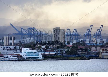 The view of Colon port town before the sunrise (Panama).