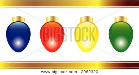Four Bright And Colorful Vector Christmas Lights
