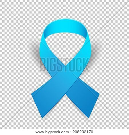 Blue ribbon solidarity awareness symbol with shadow on transparent background