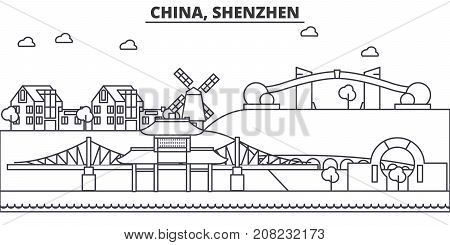 China, Shenzhen architecture line skyline illustration. Linear vector cityscape with famous landmarks, city sights, design icons. Editable strokes