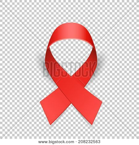 Red ribbon solidarity awareness symbol with shadow on transparent background