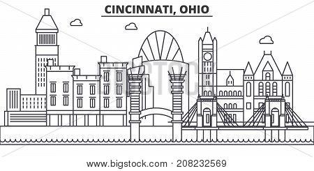 Cincinnati, Ohio architecture line skyline illustration. Linear vector cityscape with famous landmarks, city sights, design icons. Editable strokes