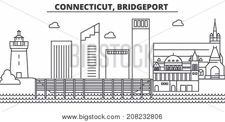 Connecticut, Bridgeport architecture line skyline illustration. Linear vector cityscape with famous landmarks, city sights, design icons. Editable strokes