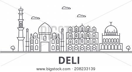 Deli architecture line skyline illustration. Linear vector cityscape with famous landmarks, city sights, design icons. Editable strokes