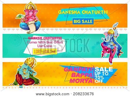 illustration of Lord Ganapati background for Ganesh Chaturthi advertisement promotion banner