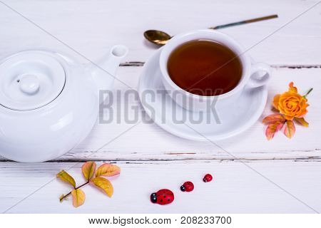 black tea in a white round cup with a saucer on a white wooden background and a white tea pot