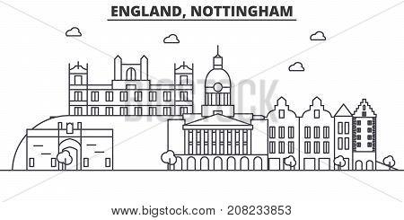 England, Nottingham architecture line skyline illustration. Linear vector cityscape with famous landmarks, city sights, design icons. Editable strokes