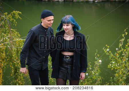 Teenage Blue Hair Girl And Boy Search A Place To Try Drugs
