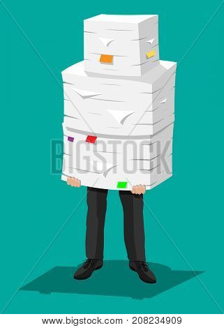 Stressed businessman holds pile of office papers and documents. Stress at work. Overworked. File folders. Carton boxes. Bureaucracy, paperwork. Vector illustration in flat style