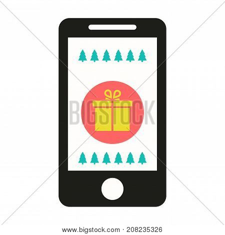 Christmas gifts and presents concept illustration . using mobile smartphone for searching gifts and purchasing. holiday shopping on line. Christmas. Congratulations online. Modern technologies. Vector illustration. Eps 10