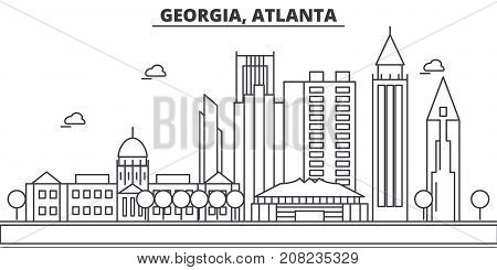 Georgia, Atlanta architecture line skyline illustration. Linear vector cityscape with famous landmarks, city sights, design icons. Editable strokes