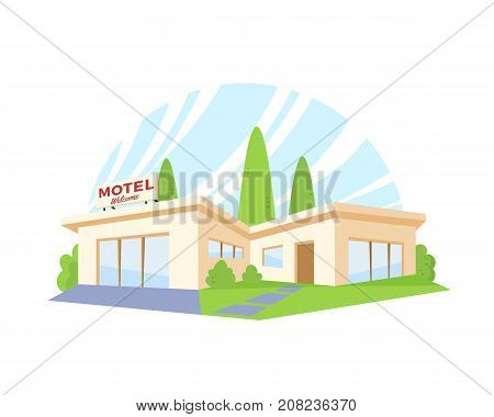 Flat Style Modern Architecture Motel with Green Lawn and Trees. Vector Drawing in The Perspective View. House Illustration. Isolated.