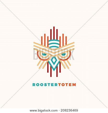Rooster Totem Abstract Vector Sign, Emblem or Logo Template. Colorful Line Style Geometry Emblem. Isolated.
