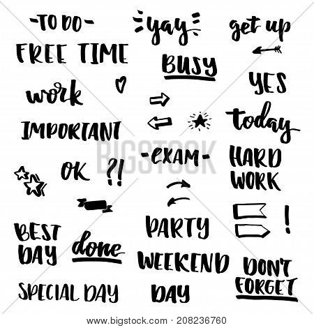 Set of lettering stickers for diary, photo, planner. Hand drawn elements. To do Free time Yay Busy Hard work Ok Best day Exam Weekend Done Party Yes Today Important and others lettering words