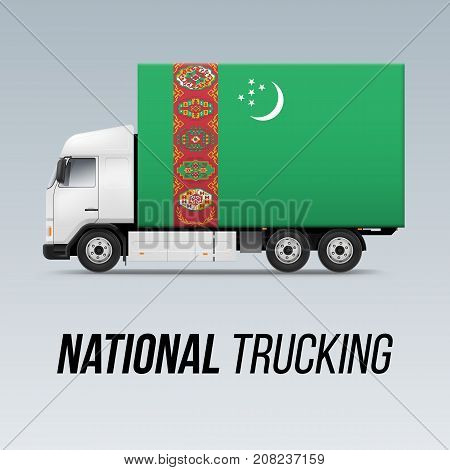 Symbol of National Delivery Truck with Flag of Turkmenistan. National Trucking Icon and Turkmenian flag