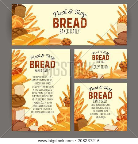 Identity template food with bread products. Rye bread and pretzel, muffin, pita bread, ciabatta and wheat bread, croissant, whole grain bread, bagel, toast bread, french baguette for design menu bakery.