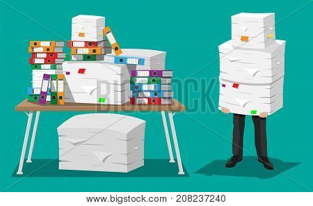 Businessman holds pile of office papers and documents.Documents and file folders on table. Office documents heap. Routine, bureaucracy, big data, paperwork, office. Vector illustration in flat style